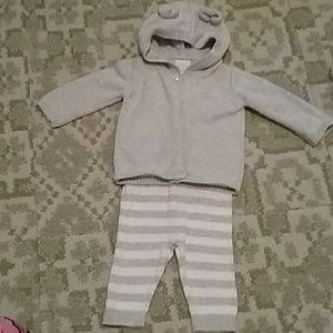 Organic Cotton sweater and pant set 0-3 mos